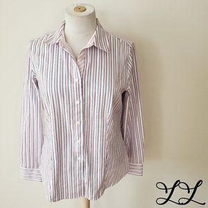 Talbots Button Down Shirt Pink Blue White Stripes